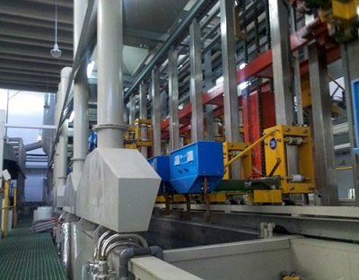Automatic vertical lifting double rotate production line